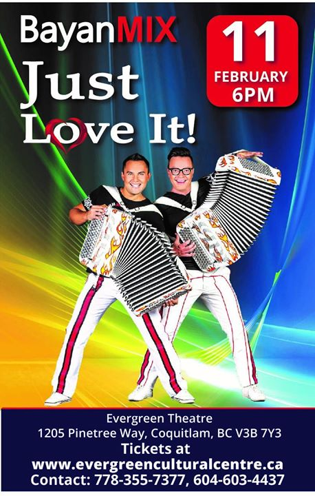 Bayan MIX  A world-famous duo of accordion virtuosos Sergei Voitenko and Sergei Kotkov will entertain the audience with their energy. The selections will include the standards of world music such as Sirtaki, Hava Nagila, Czardas as well as famous classical pieces performed in techno-style. The duo will present its own compositions and original songs.  Don't miss a very unique show!  This event is now live online. Here is the direct link for the buy tickets page: https://evergreenculturalcentre.secure.force.com/ticket/#details_a0S36000005Qe08EAC  Here is the link to the website: http://evergreenculturalcentre.ca/event/bayan-mix-featuring-sergey-voytenko-sergey-kotkov/