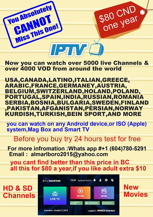 Don't miss this deal, watch over 60 Romanian Channels and over 270 Canadian, over 600 USA, and from the rest of the world total 5800 channels live and over 6000 Vod movies and series. All this for only $80 per year.