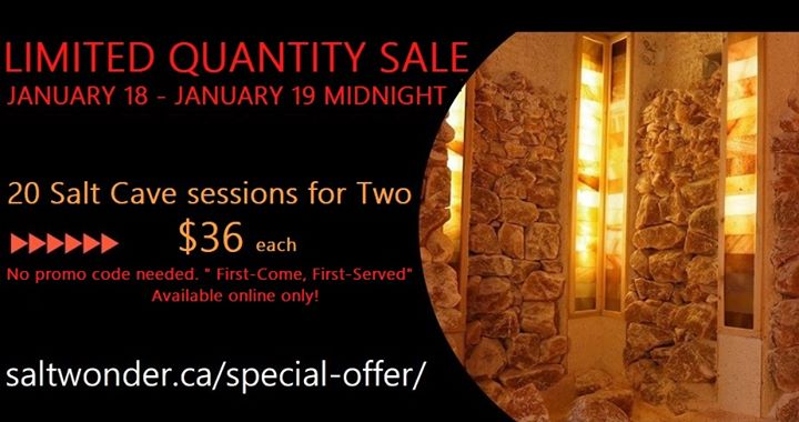 "Update: SALTWONDER - Himalayan Salt Cave The Limited Quantity Sale ends in 7 hours - Only 8 ""Salt Cave sessions for Two"" are still available!!!  https://www.saltwonder.ca/special-offer/ The offer will be removed from our web page when the sales limit has been reached!  #northvan #sale #limited #stress #yoda #meditation #copd #asthma #children #vancouver #naturaltherapy #salttherapy #himalayansalt #giftidea"